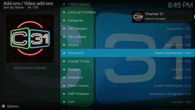 select program in kodi