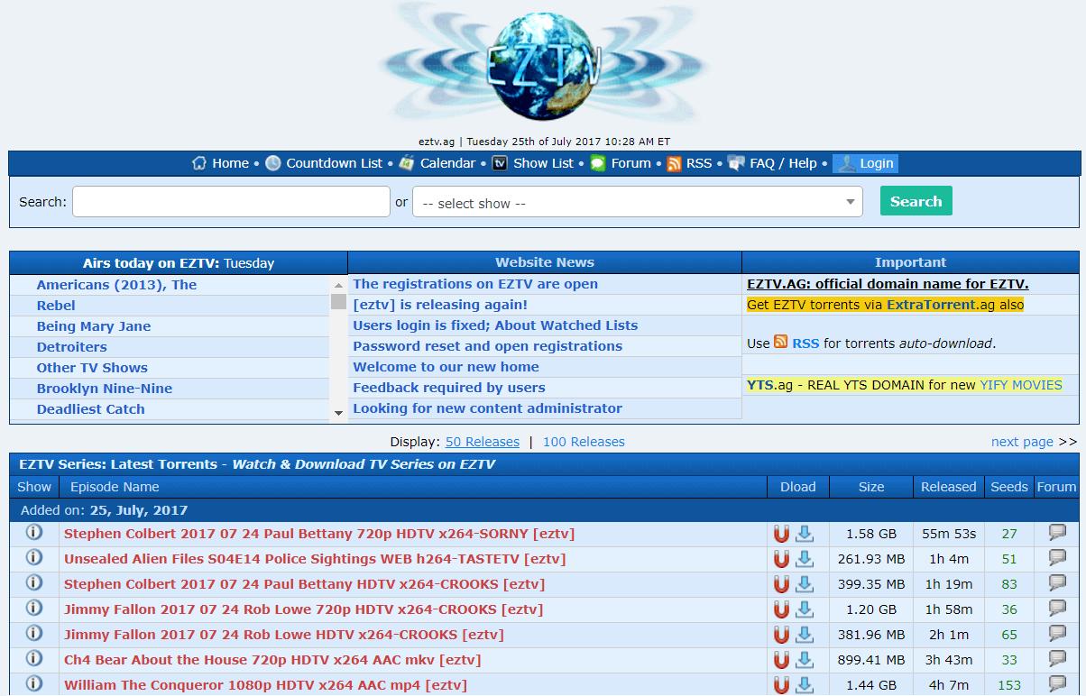 EZTV - Kickass Torrents Alternatives