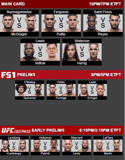 ufc 229 fight card