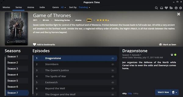popcorn time game of thrones season 8 live online