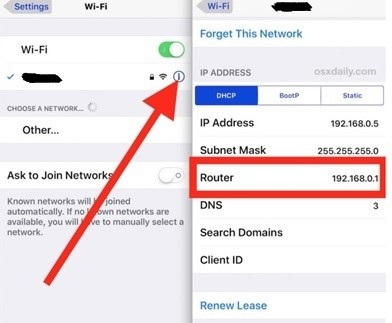Router IP Address From An iPad Or iPhone