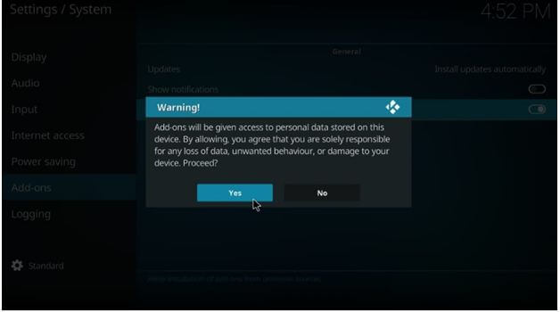 Kodi warning display