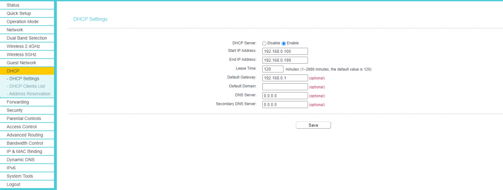 Enable DHCP Server