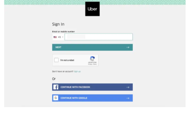 sign in uber account to del